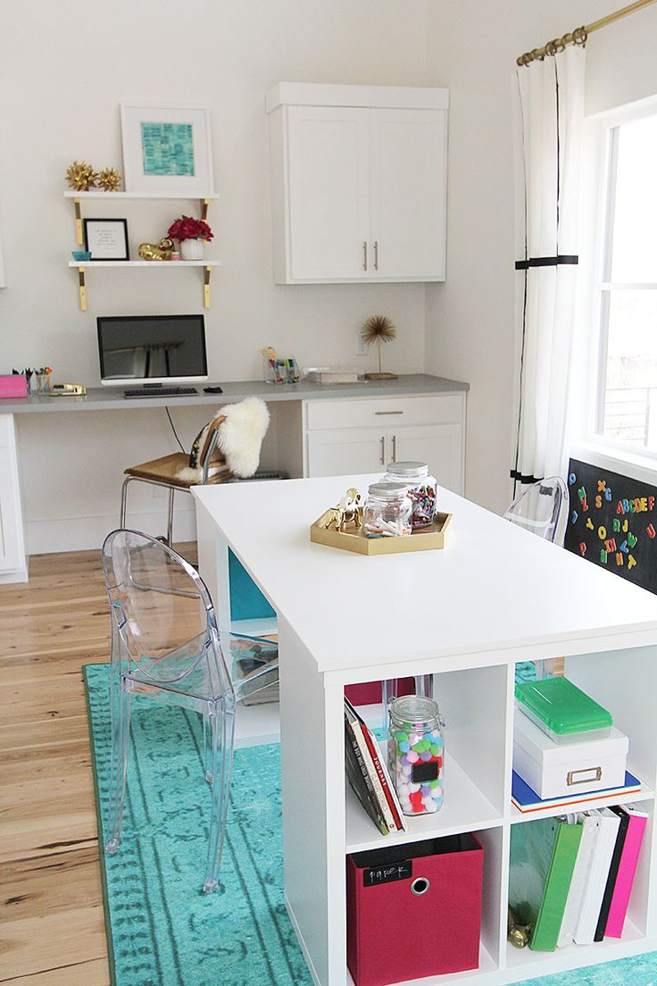 Totally gorgeous laundry/craft room from With Heart.  Work table is two IKEA shelves and a table top.