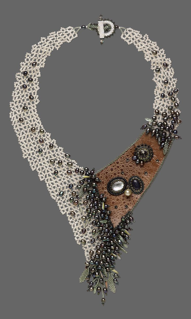 Jewelry Design - Bib-Style Necklace with Seed Beads, Leather and Gemstone Cabochons - Fire Mountain Gems and Beads