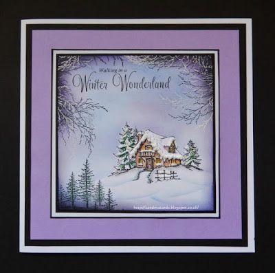 Sandma's Handmade Cards:  Inkylicious, winter, sponging, try Christmas Cottage