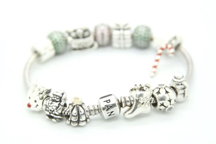 Pandora Bracelet Sterling Silver with Christmas Theme Beautiful 14 Charms,7.5 in #PANDORA