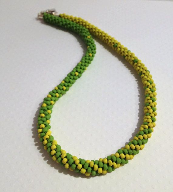 Blended Green and Yellow Beaded Kumihimo by JewelleryByJanine, £20.00