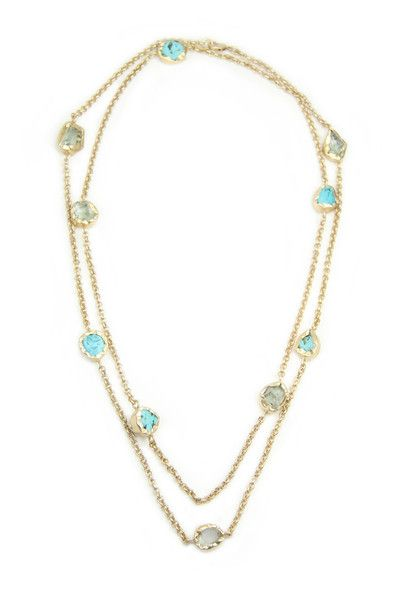 Zariin The Alternating Turquoise Blue Topaz Gold Necklace: Available at http://eveadorned.com/collections/zariin