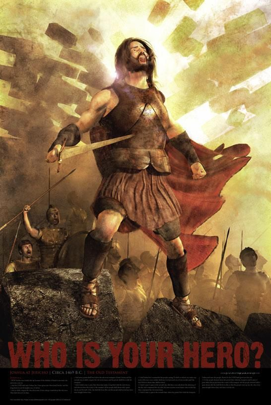 We bought this Joshua at the Battle of Jericho Bible hero poster for the boys' room.