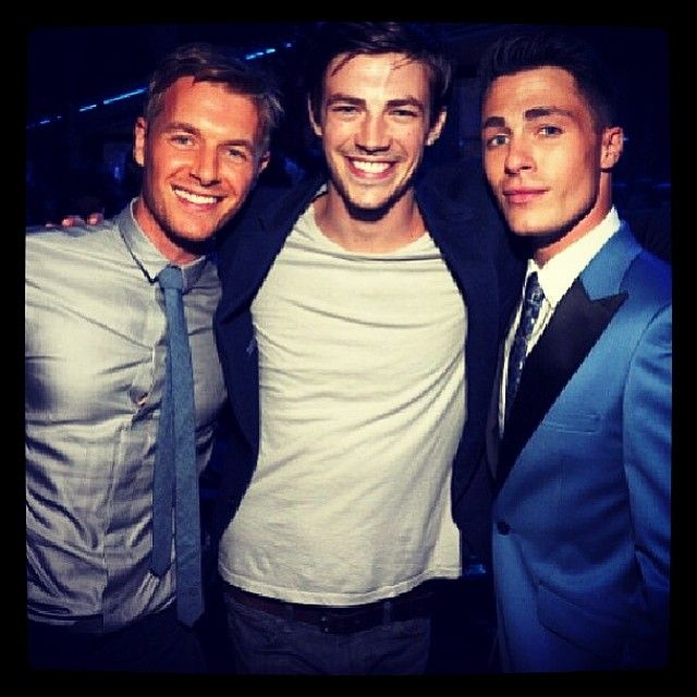 Rick Cosnett, Grant Gustin, and Colton Haynes (Officer pretty boy, The Flash and Arsenal)