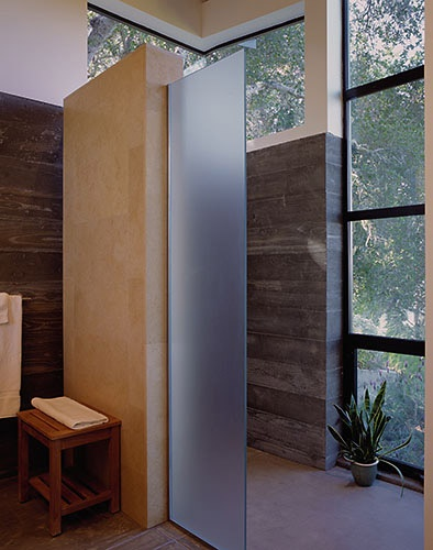 Modern shower enclosure--I like the frosted glass.