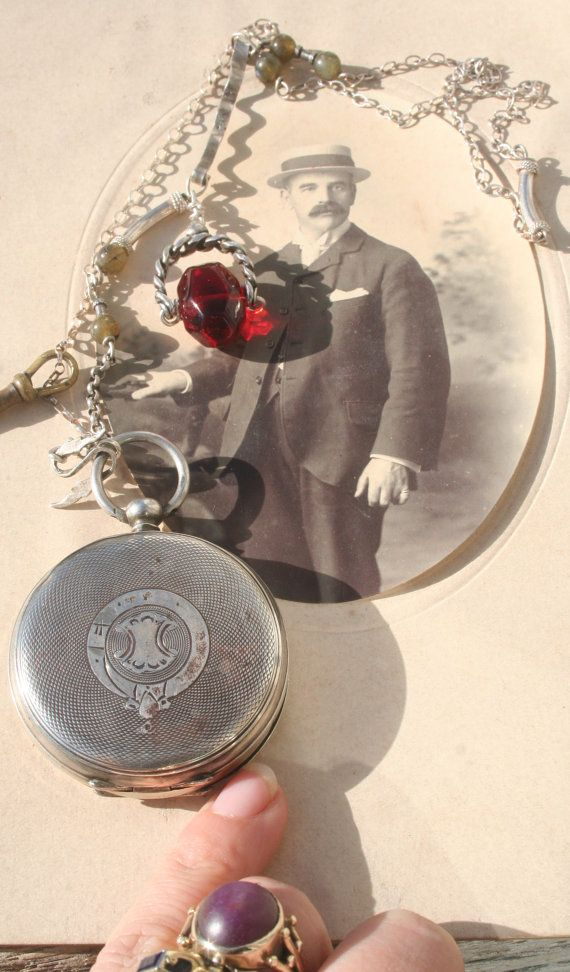 Antique pocket watch necklace Victorian Steampunk necklace