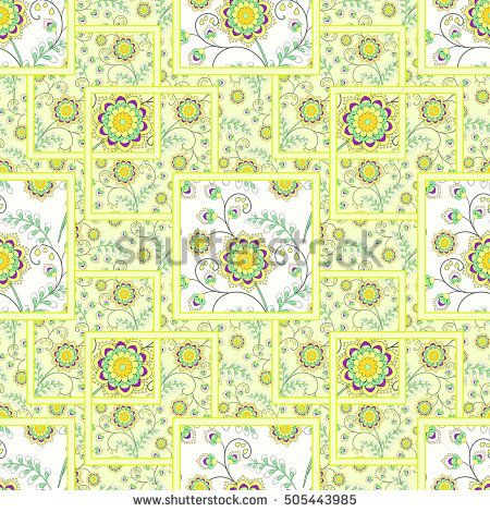 Patchwork abstract seamless floral, pattern texture light ,yellow  background with decorative elements.