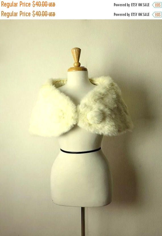 Clearance SALE 40% off Vintage Luxurious White Rabbit Fur