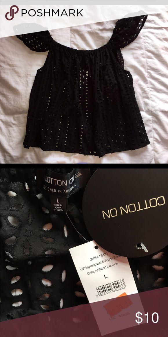 COTTON ON Women's Shirt Black, crocheted women's tee-shirt, never worn Cotton On Tops Tees - Short Sleeve