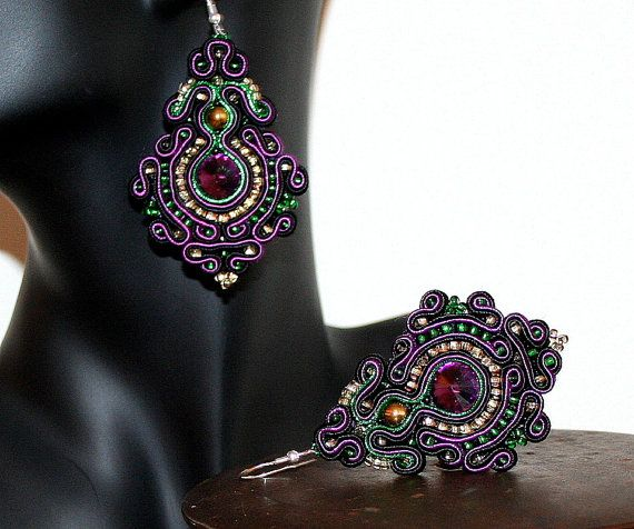 Large Chandelier Violet Soutache Earrings with by margoterie