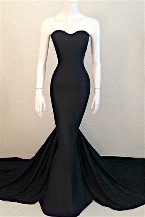 Sexy Mermaid Black Sweetheart Evening Dress 2016 Sleeveless Sweep Train_High Quality Wedding & Evening Prom Dresses at Factory Price-27DRESS.COM