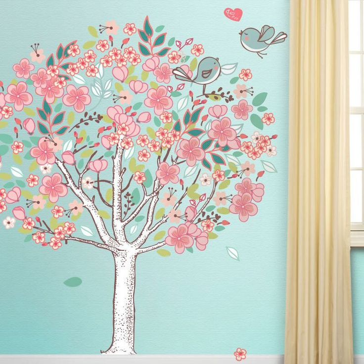 Spring Love Flowering Tree Wall Sticker Decal (stk1017) by MyWallStickers on Etsy https://www.etsy.com/listing/129171715/spring-love-flowering-tree-wall-sticker