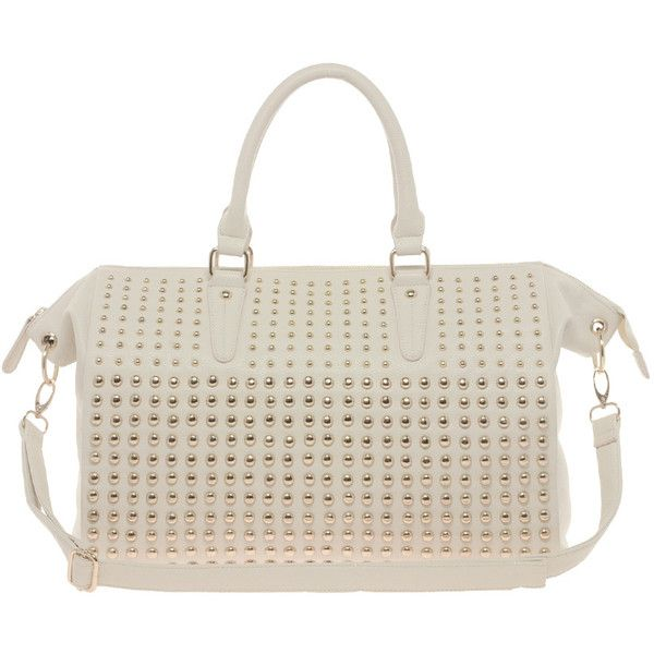 River Island Cream Full Studded Holdall (2.745 RUB) ❤ liked on Polyvore featuring bags, river island, river island bag, studded bag, cream bag and polyurethane bags