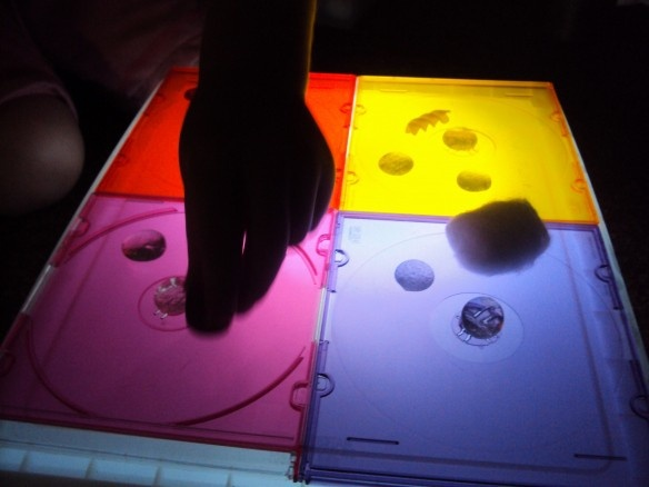 ideas for light table using colored cd covers For my vision impaired kiddos/sensory