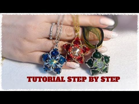 DIY tutorial gioiello double face a stella con perle e swarovski fai da te 1 beadwork - YouTube