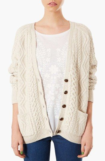 Topshop Cable Knit V-Neck Cardigan available at #Nordstrom    In Grey or cream