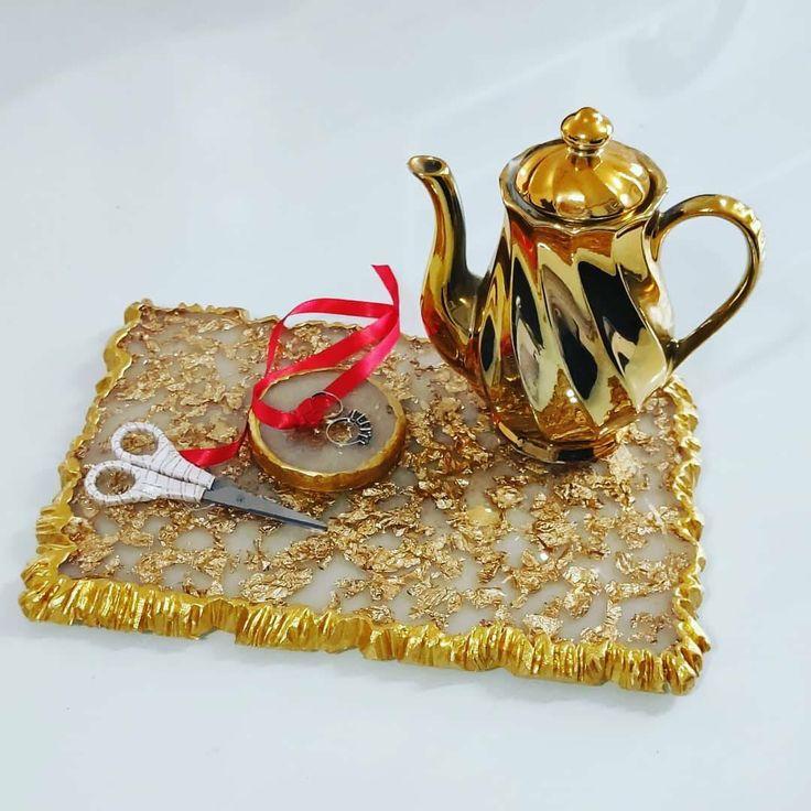 Tray, epoxy tray, gold tray, wedding ring display, wedding decoration, ring dish, gold ring dish, Majeste Epoxy, resin Table, MajesteEpoxy