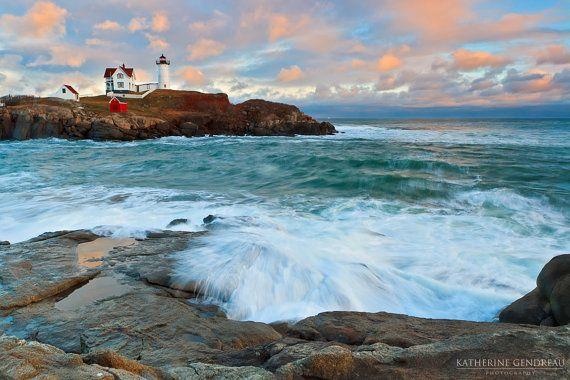 Fine Art Nubble Lighthouse Limited Edition Photo Print Sunset Surf Rocks York Maine Cape Neddick Coastal Chic Home Decor via Etsy