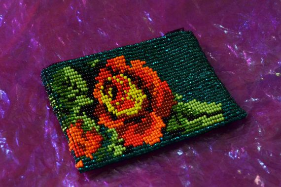 Beautiful Colored Huichol ROSE seed beads Pouch - Wallet - coin purse