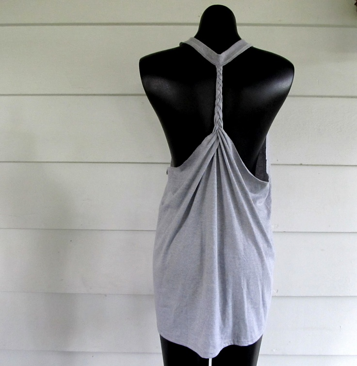 Wobisobi: Racer back tee DIY #2, braided back. #upcycle: Tees, Braided Racerback, Diy Clothes, T Shirts, Tshirt, Craft Ideas