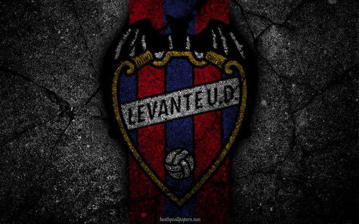 Scarica sfondi Il sollevamento, il logo, l'arte, La Liga, calcio, football club, LaLiga, grunge, Alzando FC