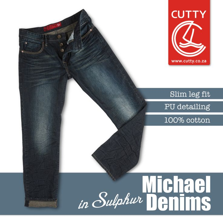 Meet Michael, Cutty's latest and greatest denim offering. Made from a comfortable 100% cotton fabrication, they're designed with a slim fit leg, crushed whispers and faded front detailing, PU detailing and branded buttons with a leather back patch. Available in a dark sulphur finish, these denims are all kinds of cool.