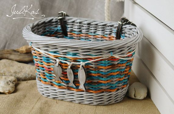 #bicyclebasket  #coloredbaskets  #giftforcyclist  #marinestyle #basketforBike  #wickerbasketsmall  #seastyle  #sailordecor  #sailorroomdecor  #bluesailor  #bikebasket  #upcycledbasket #bikebag