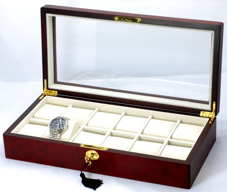 New Glass Window Wooden Display Box Fit Extra Large Face Watches CHERRY - WB12