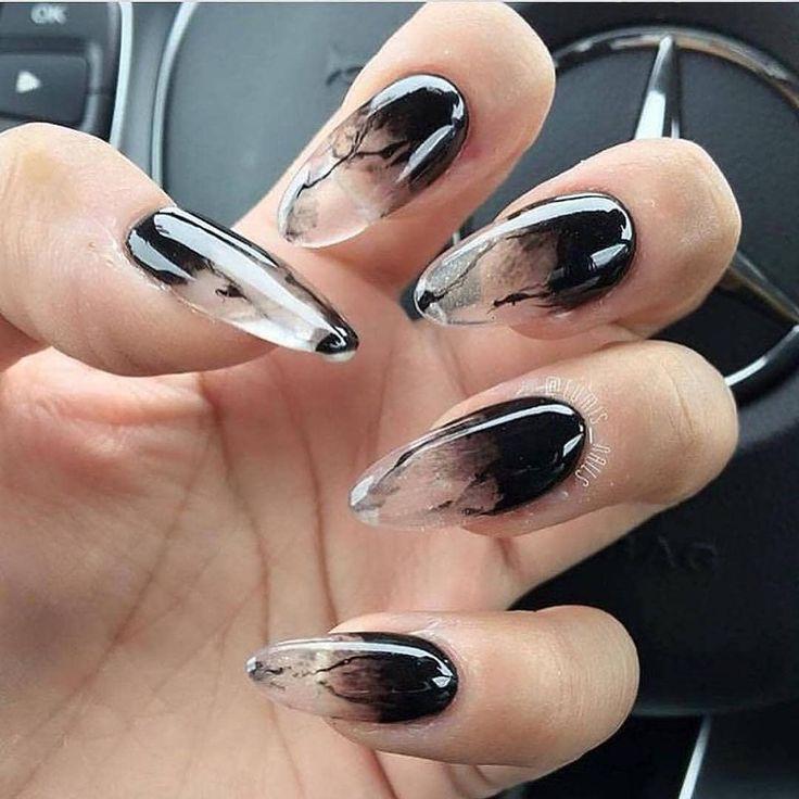 #ombrenail #blacknail