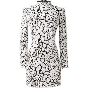 Balmain Black And White Sequins Dress