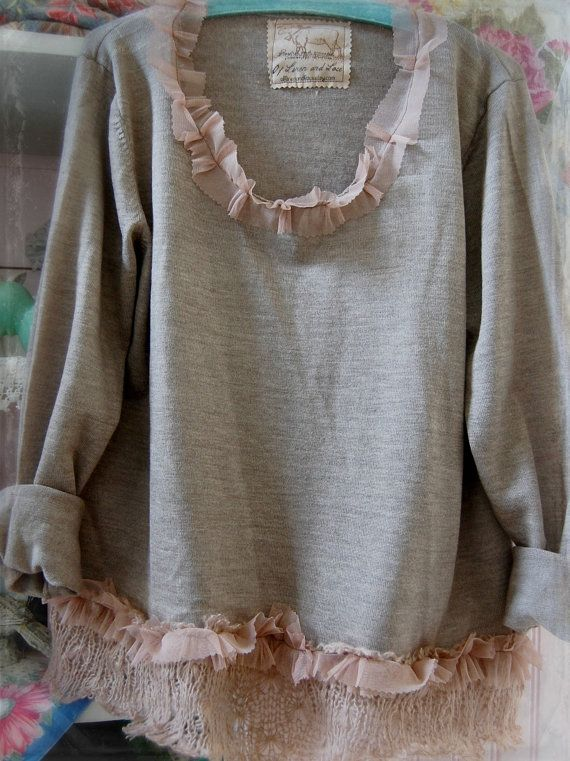 Merino Wool Sweater Womens Clothing Upcycled Sweater Pullover Shabby Chic Vintage Grey Brown Taupe Trims Prairie Cowgirl XL Oversized via Etsy