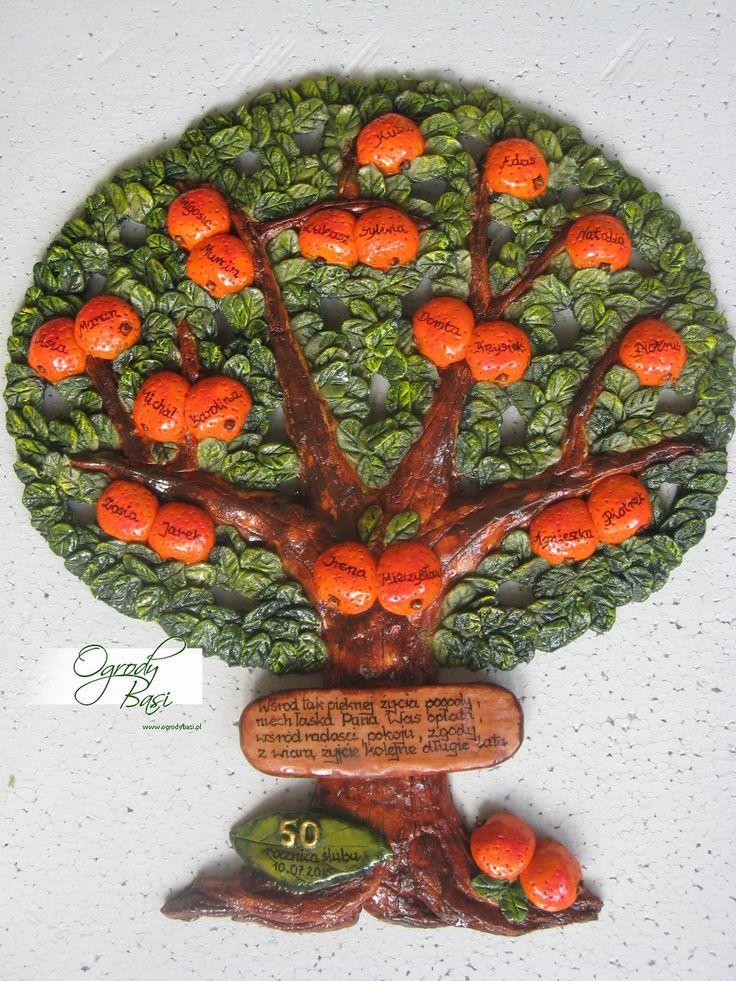 Drzewo genealogiczne mandarynki ręcznie wykonane prezent na 50 rocznicę ślubu www.ogrodybasi.pl #prezent #na #50 #rocznica #slub #jubileusz #gody