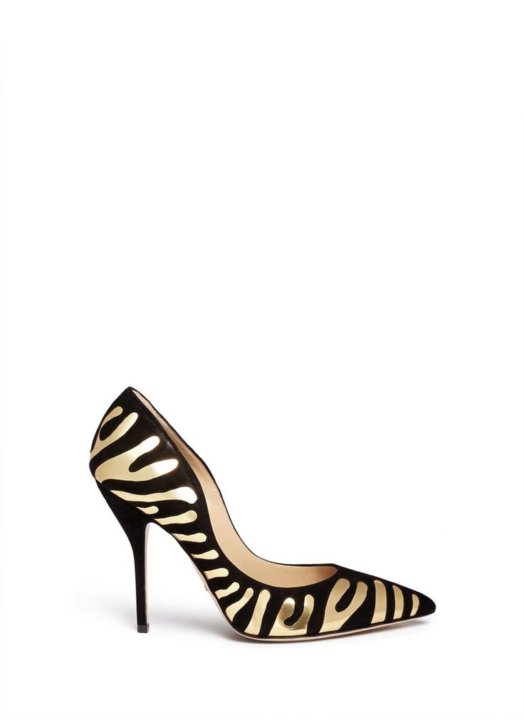 Acclaimed for his artistically meticulous designs and craftsmanship, Paul Andrew gives animal motifs a fiercely modern reinterpretation with these metallic leather and suede pumps. Let the tiger stripes shine through by wearing this pair with a plain-toned outfit.