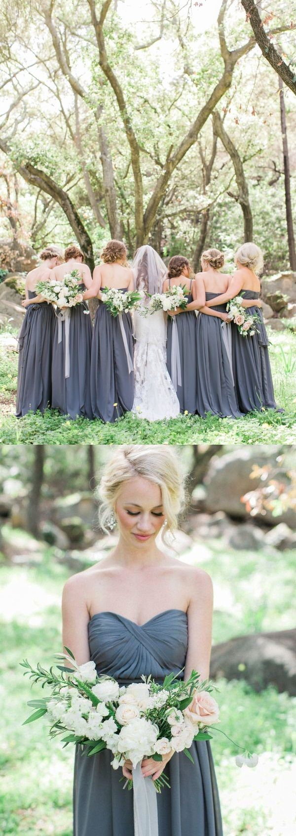 Rustic Muted Stone Ruched Bodice Long Chiffon Bridesmaid Dress