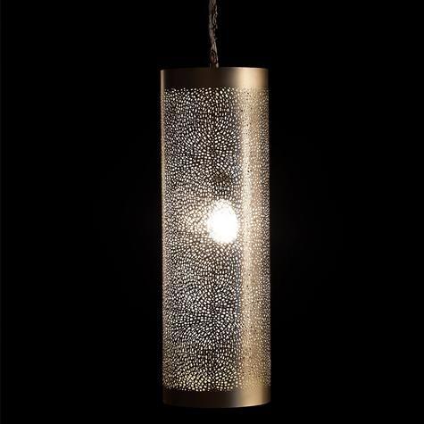 Artemano pierced metal cylinder hanging lamp