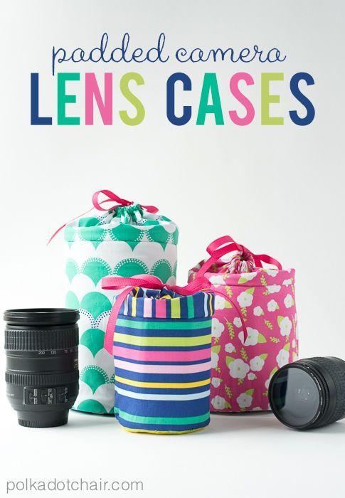 Gepolsterte Hüllen für Objektive nähen -   Padded Camera Lens Case Sewing Tutorial on polkadotchair.com