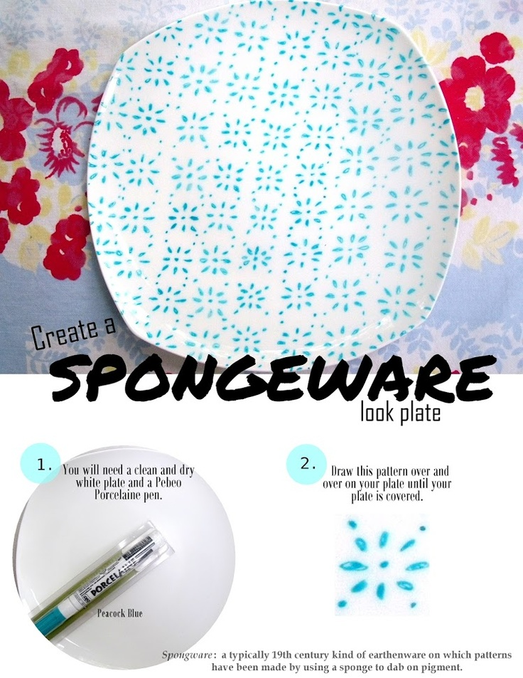 "Pinecone: DIY Spongeware ""look"" plate using a Porcelaine Pen"
