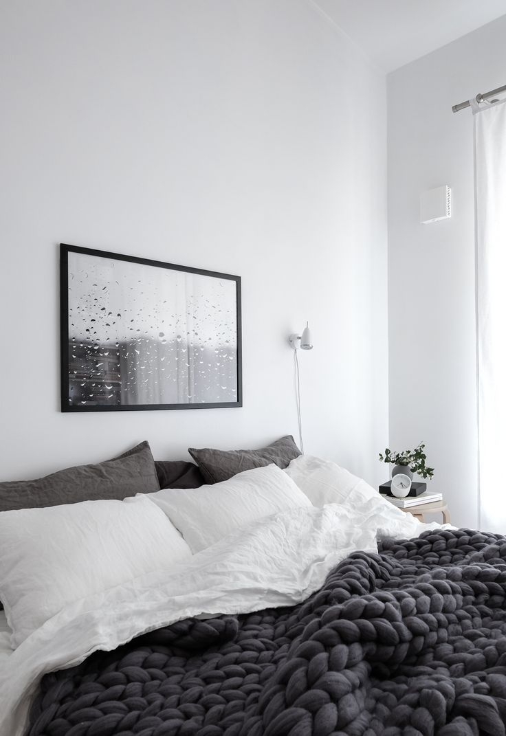 Black and white and grey bedrooms - Scandinavian Grey Bedroom With Raindrops Print And Chunky Wool Blanket