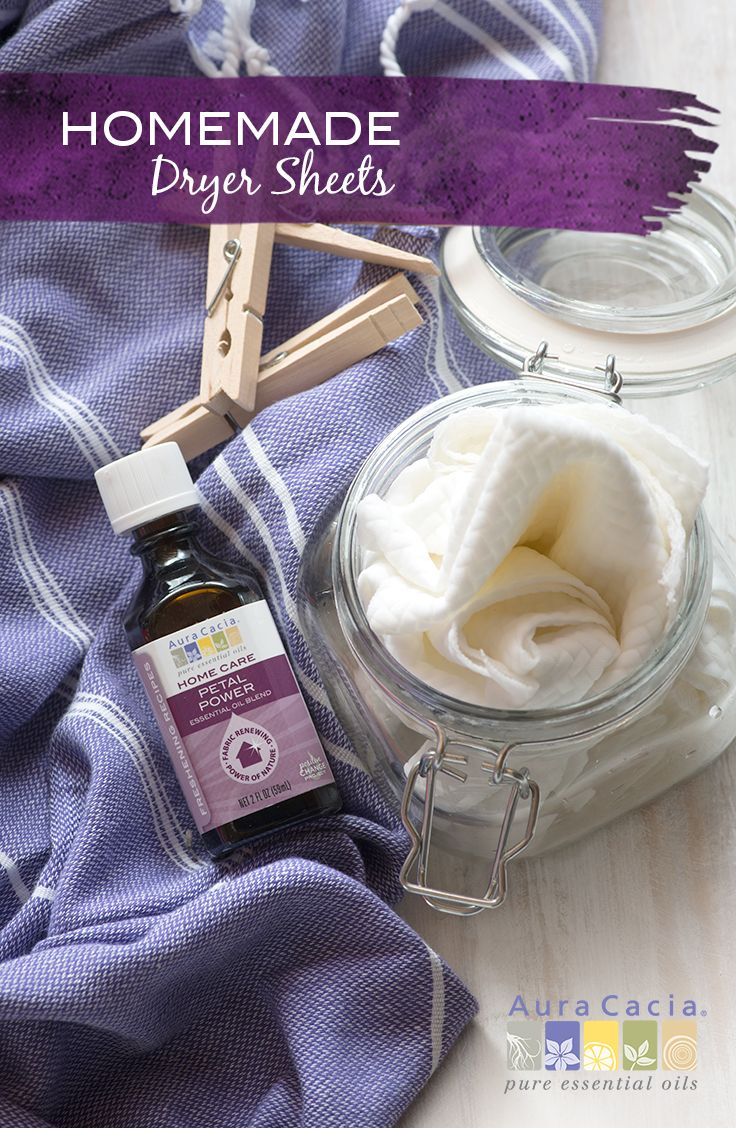 Make homemade dryer sheets with this simple recipe featuring Aura Cacia Petal Power Essential Oil Blend, specifically blended for use in laundry care recipes.