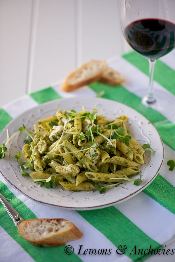 Penne with Chicken and Pistachio Pesto by lemonsandanchovoies  #Pasta #Chicken #Pistachios