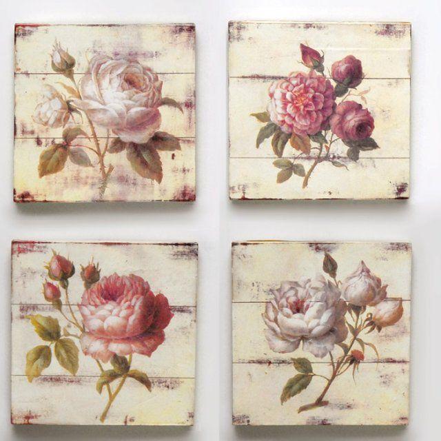 Cuadros flores, madera patina