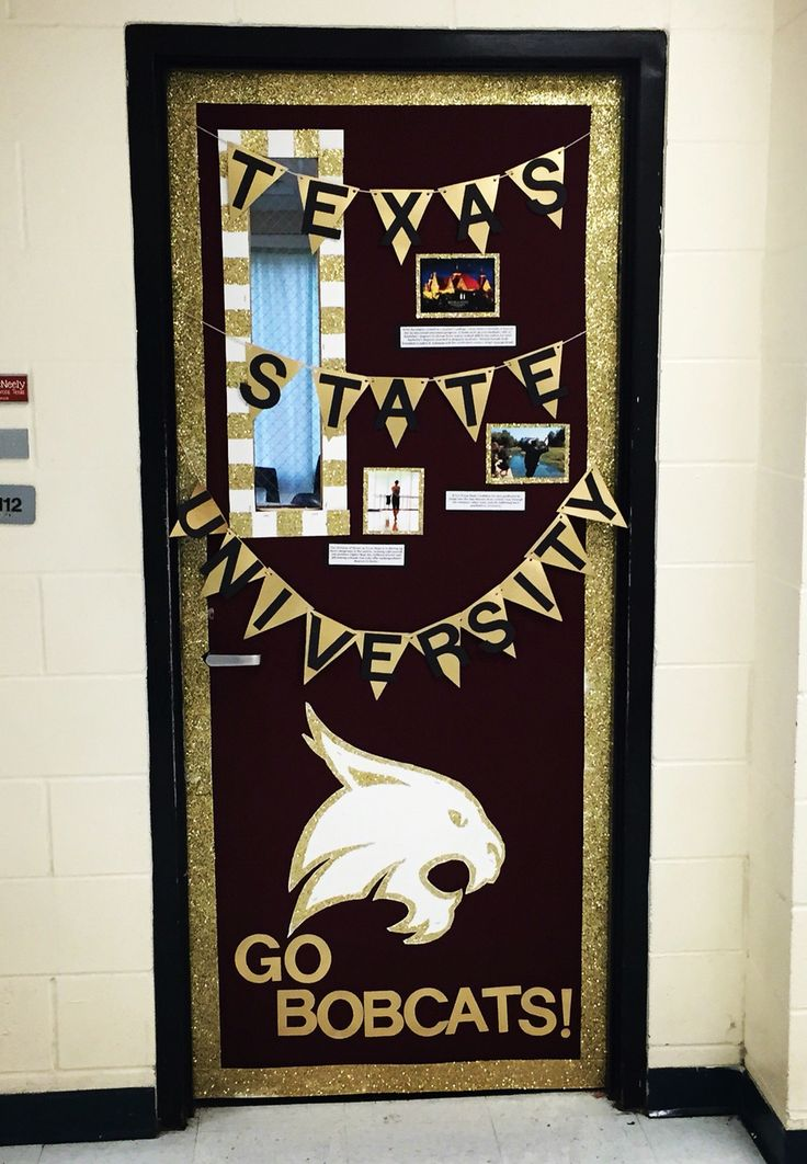 College door decorating week! I paid a tribute to Texas State University!