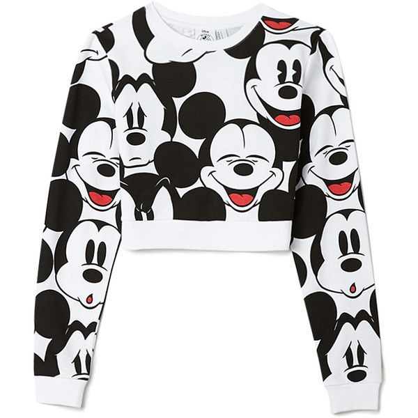 Mickey Crop Top ($18) ❤ liked on Polyvore featuring tops, hoodies, sweatshirts, shirts, sweaters, crop top, forever 21, forever 21 shirts, sweatshirt crop top and crop shirts