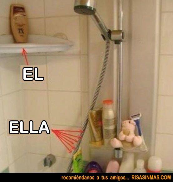 """La ducha de """"Ella"""" y la de """"El"""""""