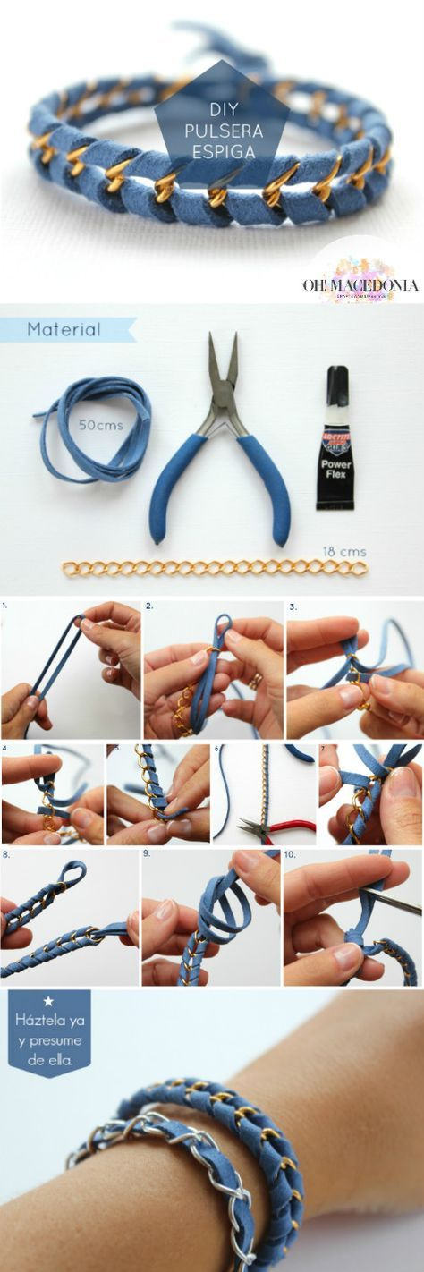 DIY brazalet, tutorial pulsera cadena de ohmacedonia.blogspot.com