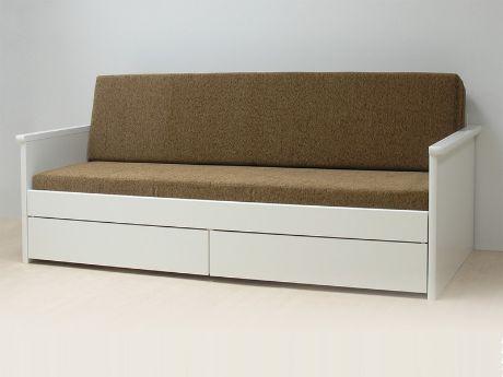 Rozkládací postel Jora v provedení bílá lamino (což je jedna ze 12 barev, ve kterých se postel vyrábí). Vyrábí se v rozměrech 80 x 200 cm (po rozložení 160 x 200 cm) a 90 x 200 cm (po rozložení 180 x 200 cm). Postel má dvě zásuvky. / Jora sofa bed in white laminate (which is one of 12 colours, in which the bed can be produced). It's produced in sizes 80 x 200 cm (unfolded 160 x 200 cm) and 90 x 200 cm (unfolded 180 x 200 cm). There are two drawers. #sofa #bed #storage #rozkladaci #postel…
