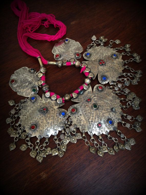 Large Tribal Necklace Statement Tribal Necklace by DancingTribe, $69.00