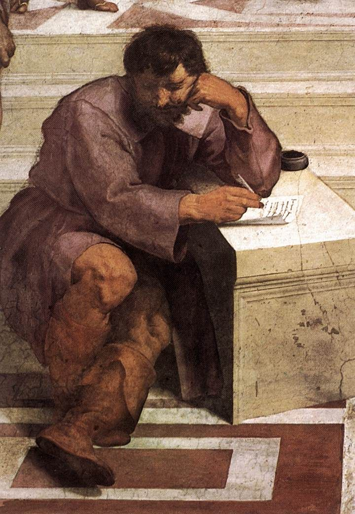 """Michelangelo as portrayed in Raphael Sanzio da Urbino's 'School of Athens'. """"I am not in the right place—I am not a painter""""."""