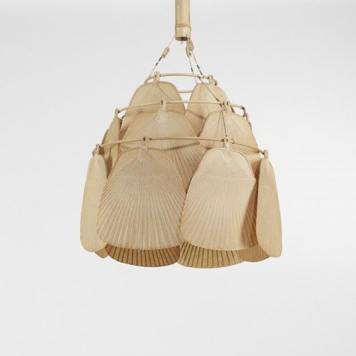 INGO MAURER : Uchiwa fan chandelier, c. 1970 bamboo, paper, brass.