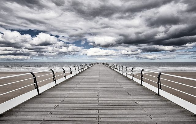 Saltburn by the Sea, Victorian pier in England, UK